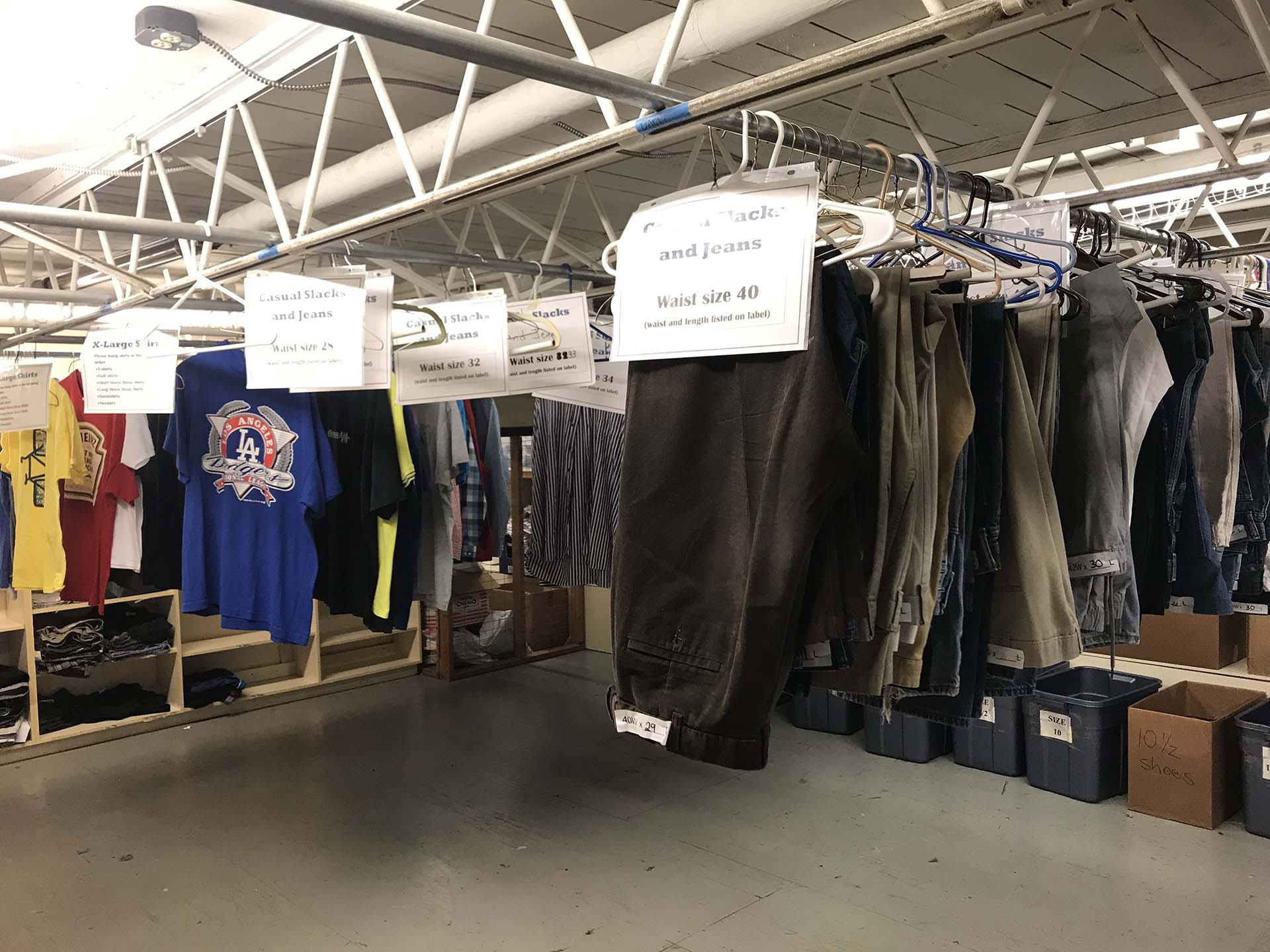 Labeled clothing in storage at Shelter KC