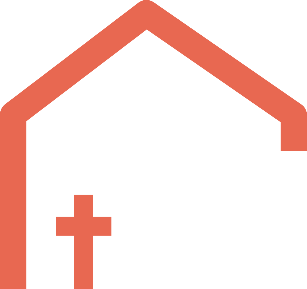 Half house with cross icon