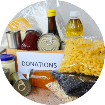 Food donations with transparent background